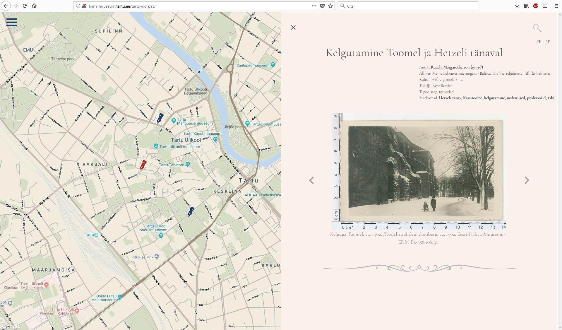 """Tartu kultuurikaardid """"Ülejõe paigad ja lood"""" ning """"Saksa Tartu / Deutsches Dorpat"""" – võimalus siduda mälestused, ajalugu ja virtuaalne linnaruum"""